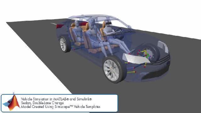 Vea una animación que muestra una simulación de cambio de carril doble con Simscape.