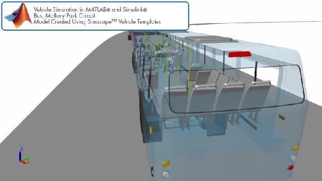 Vea la animación de una simulación de una pista de carreras para autobuses con Simscape.