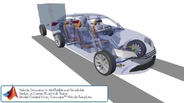 Vea la animación de una simulación de un diseño de suspensión con Simscape.