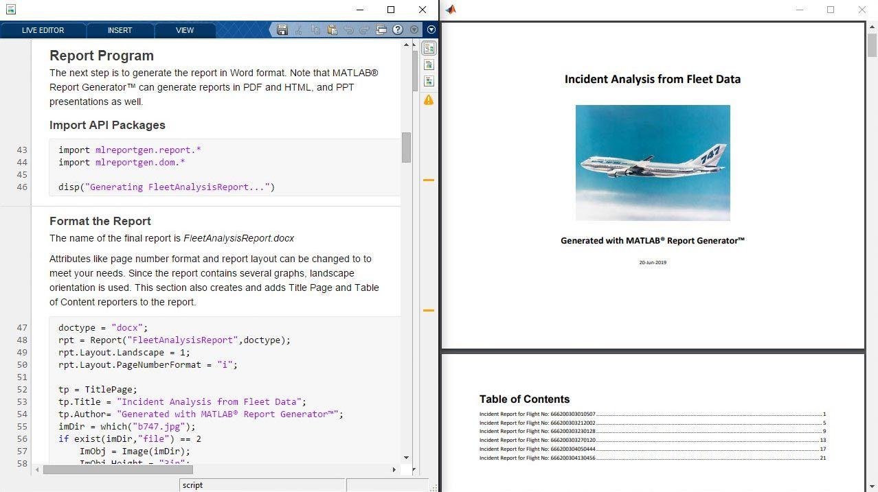 Generación automatizada de informes con MATLAB Report Generator