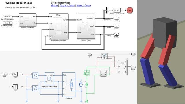 Aprenda a modelar un robot bípedo que camina utilizando Simscape, incluidas las fuerzas de contacto físico, los modelos de actuadores y los controladores.