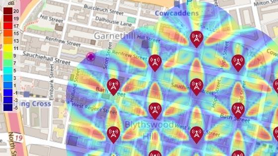 Mapa de SINR para un entorno de prueba de macrocelda urbana 5G