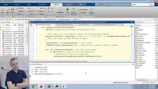 This code-along video is the third in a series where I'm creating a MATLAB function to split a URL into component parts. Here I update another script to make use of this new function but it turns into a pretty slow debugging exercise.