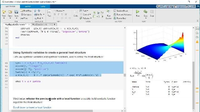 Learn how to use a live script to teach a comprehensive story about heat diffusion and the transient solution of the heat equation in 1-dim using Fourier analysis.