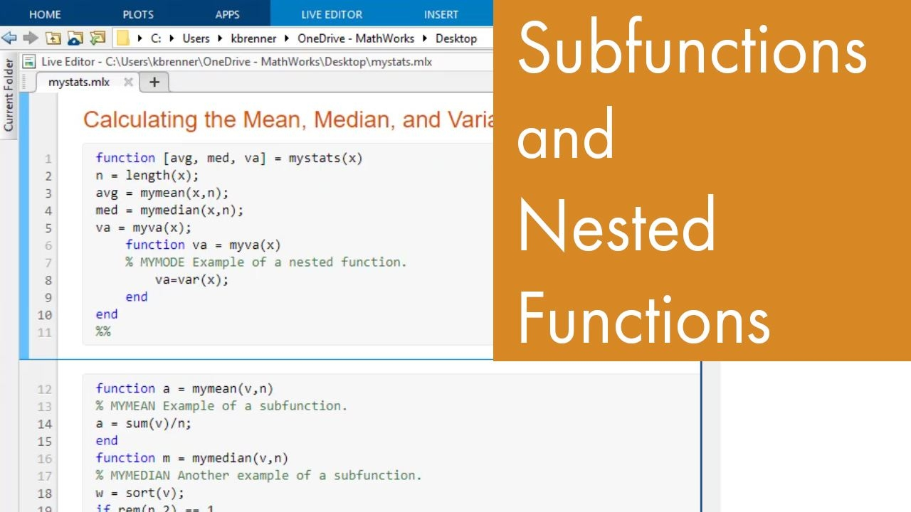 This MATLAB tutorial video will show you how to make subfunctions in MATLAB. This allows you to have functions that are available only to other functions in the same file.