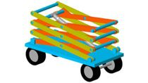 Define rigid bodies and assemble them to model a scissor mechanism. Reuse mechanism components to model a four-stage scissor lift.