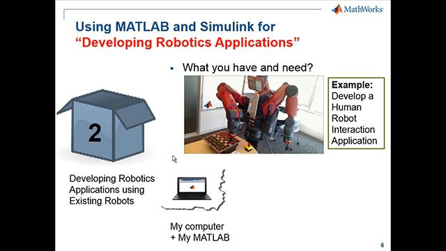 Design robotics algorithms in MATLAB and Simulink, and test them on ROS-enabled robots or simulators such as Gazebo or V-REP. Import rosbag log files into MATLAB for analysis and visualization.